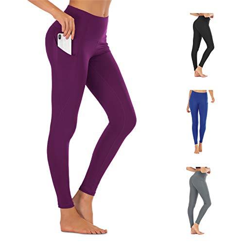 FREEZHOUSHANA Leggings Mujer con 2 Bolsillos, Pantalón Deportivo de Mujer Cintura Alta Elásticos Reducir Vientre para Running Fitness Yoga