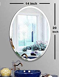 Seven Horses Frameless Oval Bevelled Wall Mirror for Dressing,Bedroom,Bathroom, Living Room,Entrance and Makeup Mirror (14 inches X 20 inches)