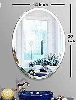 SEVEN HORSES Frameless Oval Bevelled Glass Wall Mirror for Dressing, Bedroom, Bathroom, Living Room, Entrance (14X 20 inch...