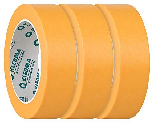 KLEBMA Gold Malerabdeckband Goldband Profi 3 Rollen je 50m Washi (30mm)