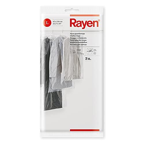 Rayen - Funda de ropa para armario. Pack de 3 bolsas transperentes para guardar ropa. Protectores de ropa antipolvo. 65 x 150 cm. Transparente ✅