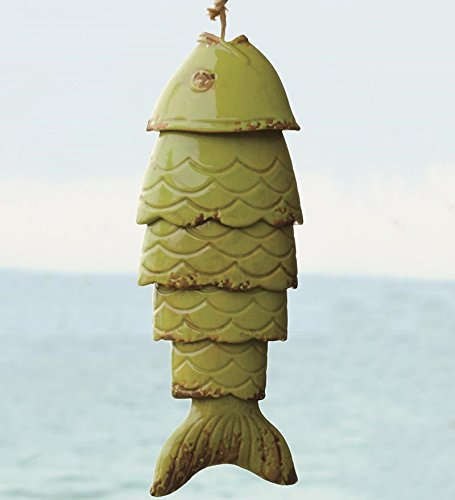 Wind & Weather WC7333-GRN Colored Porcelain Koi Fish Wind Chime, in Green,