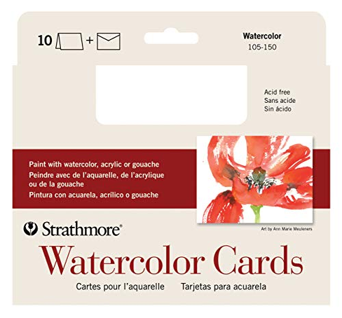 Strathmore 105-150-1 Watercolor Cards, Cold Press, 5' x 6.875', 10 Cards and Envelopes