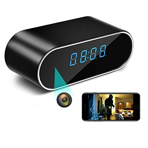 Hidden Camera Clock FHD 1080P WiFi Night Vision Alarm Clock Camera Motion Detection/Loop Recording Best Hidden Cam for House Small Nanny Cam Home Cameras,Note: There is a Protective Film on the Screen