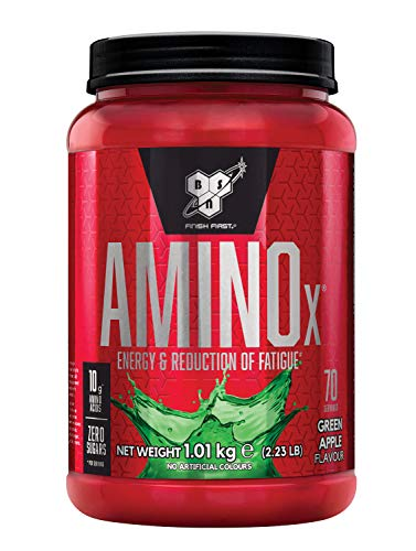 BSN Nutrition Amino X Muscle Building Support Powder Supplement with Vitamin D, Vitamin B6 and Amino Acids, Green Apple, 1 kg, 70 Servings