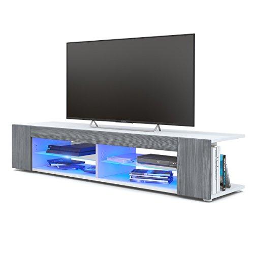 Mesa para TV Lowboard Movie, Cuerpo en Blanco Mate/Frentes en avola Antracita con iluminación LED en Azul