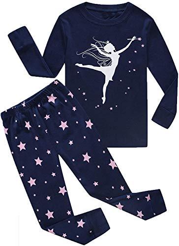 CM-Kid Schlafanzüge Mädchen Baumwolle Fluoreszierendes Kinder Pyjama Langarm Rundhals Nachtwäsche Top Lange Hose Frühling Herbst Winter Tanzmädchen Sternchen Dunkelblau 122