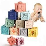 ALRY 12St Baby-Greifling Badkugel Spielzeug-Weicher Gummi Vinyl Geprägte Bausteine Baby-Beißringe Set Blöcke 3D-Touch Hand Soft-Bälle Baby-Massage