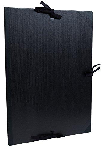 Clairefontaine 38815C Kraft Zeichenmappe (mit Bändern, Innenklappen, Rücken 30 mm, innen: 50 x 70 cm, außen: 52 x 72 cm, ideal zur Aufbewahrung Ihrer Werke) schwarz