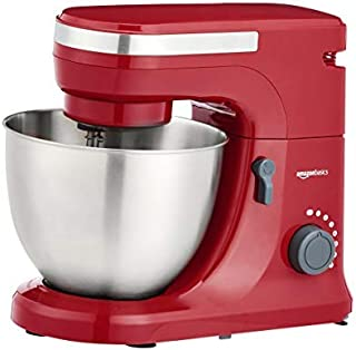 AmazonBasics Multi-Speed Stand Mixer with Attachments, Red