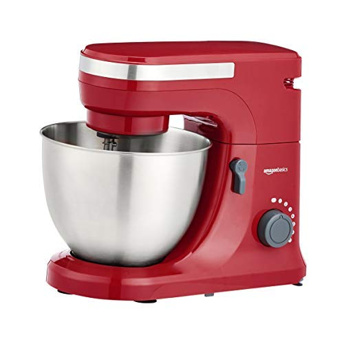 Amazon Basics Multi-Speed Stand Mixer with Attachments, Red