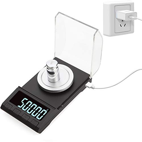 GMtes Básculas electrónicas de precisión de 0,001g, 100g / 50g / 20g, báscula de Diamantes de joyería de Gemas de pesaje Digital, báscula de miligramos de Peso de Laboratorio portátil,100g*0.001g