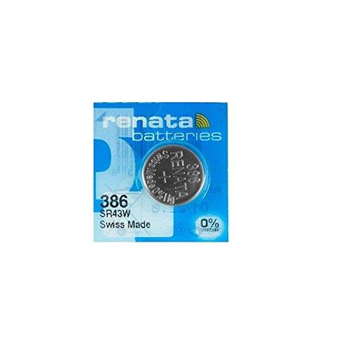 Renata - Batteria senza mercurio, 1,55 Volt, da orologio, la batteria 386 sostituisce la SR43SW