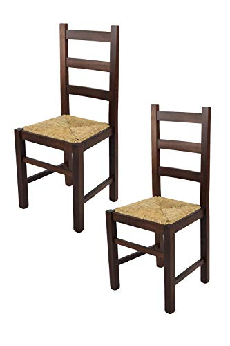 Tommychairs - Set 2 sillas Rustica para Cocina y Comedor, Estructura en Madera de Haya Color Nogal Oscuro y Asiento en Paja