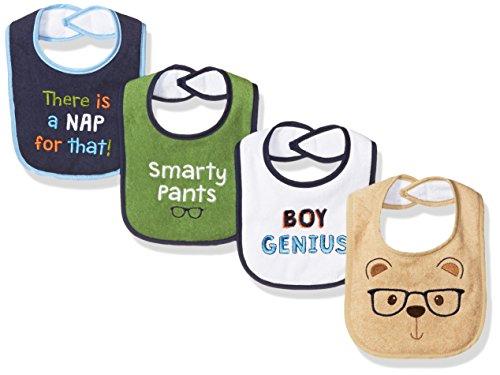 Luvable Friends Unisex Baby Cotton Drooler Bibs with Fiber Filling, Genius, One Size