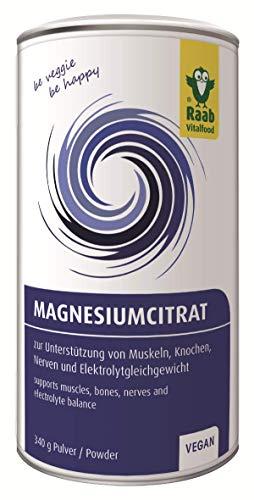 Raab Vitalfood Magnesiumcitrat Pulver, 340 g, vegan, laborgeprüft, gut zu dosieren, ideal für Sportler, zur Unterstützung von Muskeln Knochen Nerven, Elektrolyt-Haushalt