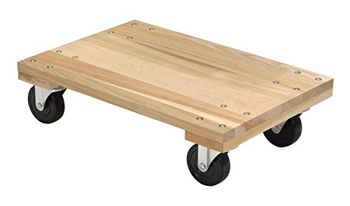 Vestil HDOS-1624-12 Solid Deck Hardwood Dolly with Hard Rubber Casters, 1200 lbs Capacity, 24