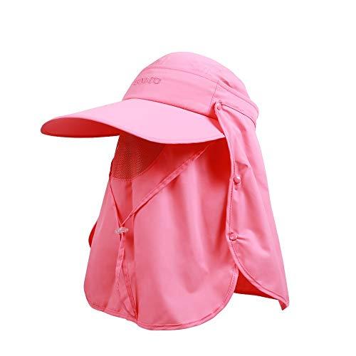 HANSHAN Las Mujeres de la Visera Parasol Sombreros-Protección Solar Protección UV-ala Ancha Cap-extraíble con Cara y Cuello Solapa Casquillo de Sun-para Senderismo, Golf, Tenis, Aire Libre