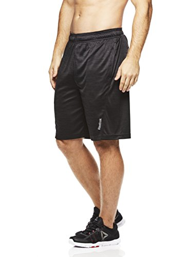 Reebok Men's Drawstring Shorts - Athletic Running & Workout, Black, Size X-Large