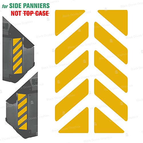 2pcs Adhesivos Reflectantes сompatible con Bolsas Laterales GIVI Trekker Outback 37L 48L (Yellow)