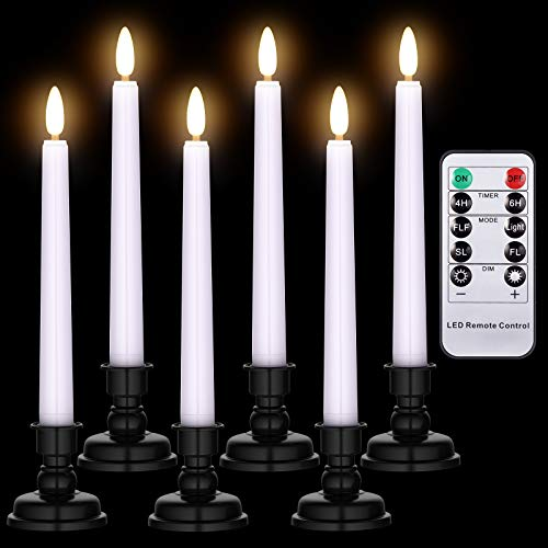 Ymenow Window Candles, 6pcs Battery Operated LED Flameless Flickering Taper Candle with Remote Timer, Black Candlesticks & Realistic Candle Wicks, Battery Included for Home Table Wedding Decor