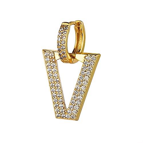 1 pieza de joyería perforada regalos mujeres hombres blanco diamante triángulo colgante CZ oreja piercing pendientes colgantes zirconia cúbica (oro-azul)