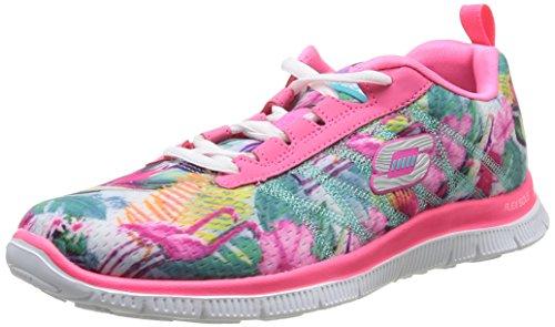 Skechers Flex Appeal-Floral Bloom Zapatillas de deporte, Mujer, Negro, 38