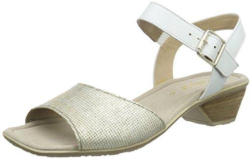 Gabor Shoes Damen Knöchelriemchen Sandalen Knöchelriemchen Sandalen, Gabor , Gr. 43 (Herstellergröße: 9), Mehrfarbig (62 platino/weiss)