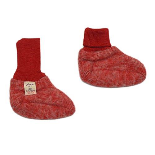 Cosilana Baby Schühchen aus Wollfleece kbT (ab 62/68 mit Noppen) (50/56, Rot-melange)