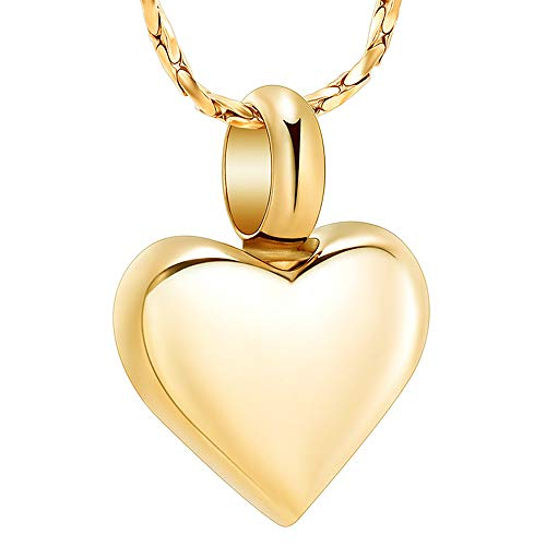 Imrsanl Small Heart Cremation Urn Necklace for Ashes Stainless Steel Memorial Ash Pendant Keepsake Jewelry (Gold)