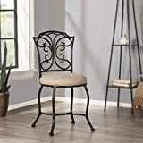 Hillsdale Furniture Sparta Vanity Stool, black with gold highlighted accents