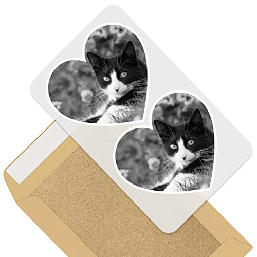 Awesome 2 x Heart Stickers 7.5 cm - BW - Black & White Cat Kitten Cats Garden Fun Decals for Laptops,Tablets,Luggage,Scrap Booking,Fridges,Cool Gift #42242