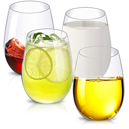 Copas de Vino, de Plástico Irrompible, Juego de 4 Unidades, de 450ml Cada Uno, Reutilizables, Sin Pie, Inastillables, para Fiestas, Acampadas (4)