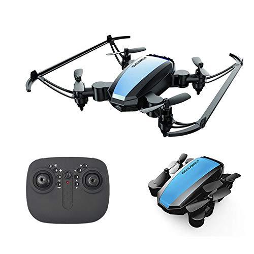 TwoCC-Mini drone pieghevole con luci a LED, 3D VR, modalità senza testa, rotazione a 360 ° e pratica presa in altitudine per principianti e bambini 5,5X7,5X3,2 cm (blu)