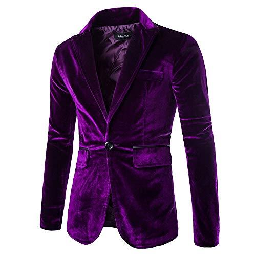 Homebaby Uomo Blazer Basic in Maglia Velluto a Coste Blazer Uomo Giacca da Abito Elegante Fiesta Maniche Lunghe Colletto Cappotto Fashion Formale Casual Lavoro Pulsante Completo