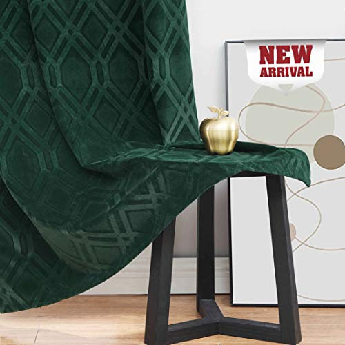 "Nottingson Home Green Soft Velvet Short Curtains Panels 63 inch for Half Window Bedroom Embossed Geometric Trellis Drapes Room Darkening Window Treatments Dark Green Grommet Top 40"" Wx63 L 2 Panels"