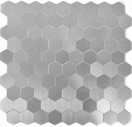 Mosaico autoadhesivo de aluminio plateado metal hexagonal para pared, cocina, espejo, revestimiento de azulejos