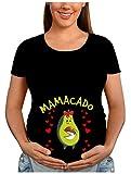 Colorfamily Mamacado - Camiseta de manga corta para mujer, diseño de avocado con texto en inglés 'Mama' Nero Donna L