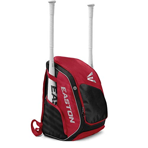 Easton Elite X Bat & Equipment Backpack Bag | Baseball Softball | 2020 | Red | 2 Bat Sleeves | Vented Shoe & Equipment Compartments | Valuables Pocket | Water Bottle Sleeve | Fence Hook