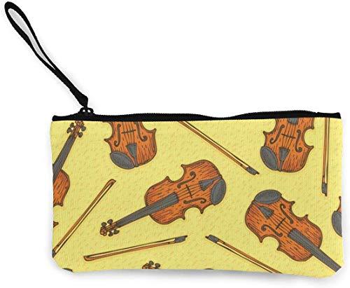Holz Geige oder Violine Männer und Frauen Persönlichkeit Mode Leinwand Geldbörse Jungen und Mädchen niedlich Brieftasche Tasche Münzkarte mit Hand Seil Reißverschluss Geld Beutel kleine Kosmetiktasche
