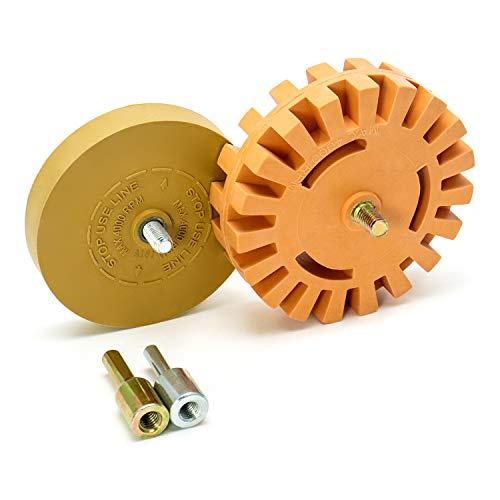 QWORK Calcomanía removedor rueda para quitar telas a rayas, calcomanías, calcomanías de vinilo adhesivas de automóviles, vehículos recreativos, barcos y más(100mm + 88mm)