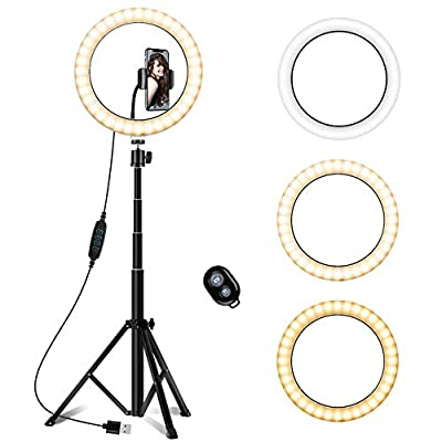 "Vsport 10"" Selfie Ring Light with Adjustable Tripod Stand & Phone Holder,Dimmable Led Camera Ringlight Beauty Ringlight for YouTube/Photography Compatible for iPhone and Android Phone from Vsport"