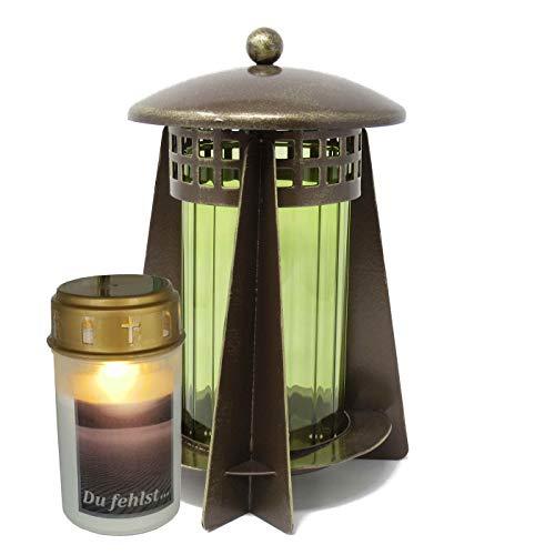 Lanterna per tomba, in acciaio rotondo, con colonne da 23 cm, con candela a LED (bronzo)