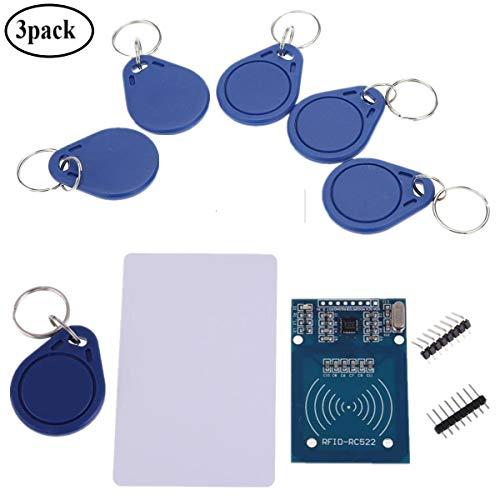 IZOKEE RFID Kit, RC522 RF IC Reader Sensor Modul mit S50 13,56MHz RFID Chip und Karte für Mifare Arduino Raspberry Pi & 5 Stück Transponder Zusätzlich als Geschenk (Packung mit 3)