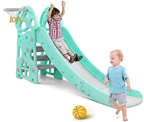 Kids Slide Outdoor Garden Children Toys for Toddlers, Large Slide for Toddlers Babies Toys Activity, Freestanding Slide for Children, with Basketball Hoop, Up to 25Kg