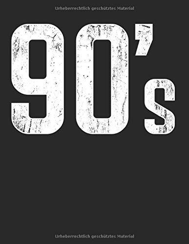90s 1990er Disco Vintage Retro Party Neunziger: A4+ Softcover 120 beschreibbare karierte Seiten   22 x 28 cm (8,5x11 Zoll)