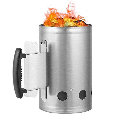 NLYWB Rapid Fire Chimney Starter, Feuerkorb aus verzinktem Stahl, entwickelt, um schnell heiße Kohlen für das Grillen von Holzkohle im Freien zu produzieren