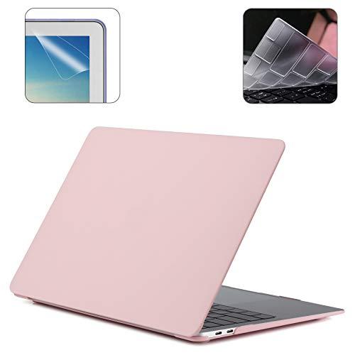 i-Buy Harte Schutzhülle Hülle kompatibel für Apple MacBook Pro 16 Zoll mit Touch Bar (Modell A2141,2019 Release) + Schutzfolie + TPU Tastaturschutz - Rose Quartz