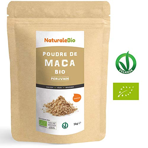 Maca Bio en Poudre [ Gélatinisée ] 1kg | Organic Peruvian Maca Root Powder | 100% Biologique, Naturel et Pur, Produit au Perou de Racine de Maca Bio | NATURALEBIO