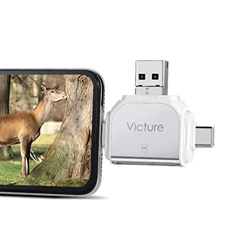 Victure Speicherkartenleser, 3 IN 1 SD/Micro SD Kartenleser Lightning, für Android Phones, iPhone, iPad, MacBook und PC Laptop
